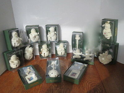 Retired SNOWBABIES Bisque JINGLE BELL Ornaments 1st RATTLE Icicles CLIPS - 14 pc