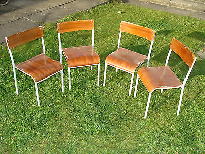 4 x Industrial Vintage Stacking Childrens School Chairs Wooden Tubular Metal