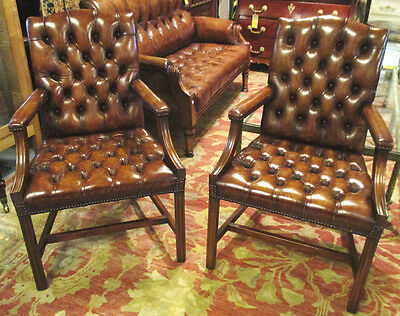 Pair Leather George III Style Gainsborough Arm Chairs