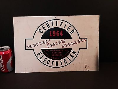 Vintage Electrician Metal Sign 1964 Eastern Nebraska Public Power District