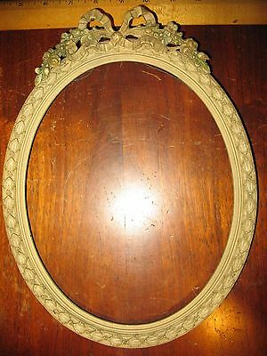 """Antique Ribbon & Rose Oval Ornate Wood Picture Frame 12"""" Gesso/French?"""