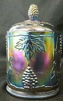 Indiana Glass  Harvest Grape Iridescent Blue Carnival Glass Covered Candy Jar