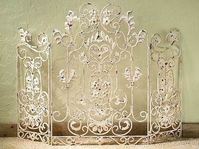French Country Iron Floral Antique White Shabby Chic Decorative Fireplace Screen
