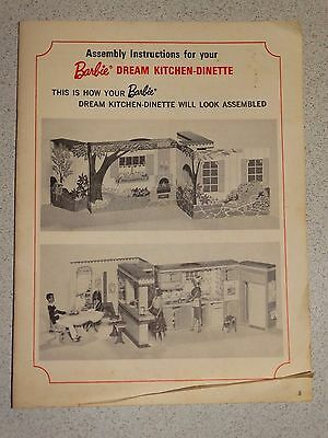 Barbie:  NICE Vintage DREAM KITCHEN & DINETTE Instructions!