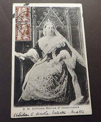 * MALTA - QUEEN VICTORIA SOUVENIR posted 1908 to Germany