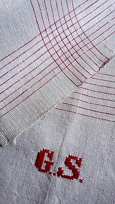 old linen kitchen Towel / Runner with red stripes design unused