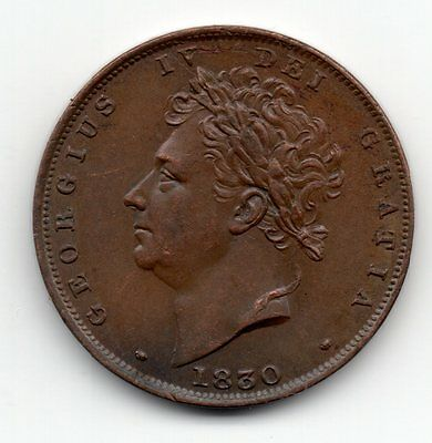 1830 Farthing George IV Great Britain - nice coin - milled #D6
