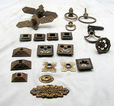( 21 ) Antique & Victorian Brass Hardware Mixed Lot Furniture Cabinet Drawer