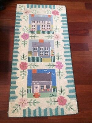 Beautiful! Claire Murray Rug Vintage Retired Hand Hooked 100% Wool Cottages