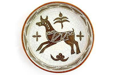A vintage handpainted Italian pottery bowl. Bull design. Leather covered