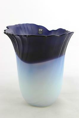 A Mats Jonasson blue and opal glass vase. Maleras, Swedish design