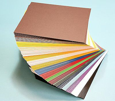 "Pack of 100 MIXED COLORS 7.5""x9.5"" UNCUT Mat Board / Matboard Blanks for Framing"