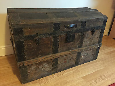 Antique Domed Top Wooden Trunk With Fitted Interior