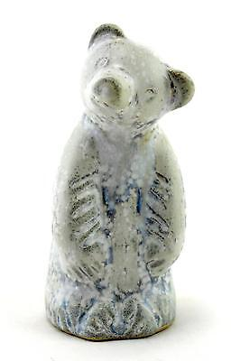 A small white & grey Ego Stengods bear. Vintage. Swedish design