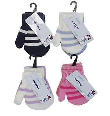 2 pack of New Baby  Mittens Gloves Boys & Girls Assorted Colours Winter One Size