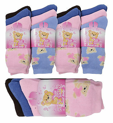 3,6 Pairs Kids WINTER WARM OUTDOOR THERMAL CUTE BEAR DESIGN SOCKS