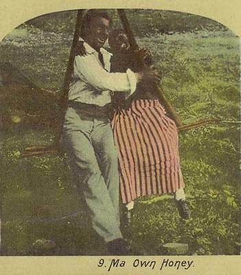 "Stereoview Color Card - Black Americana - ""Ma Own Honey"""
