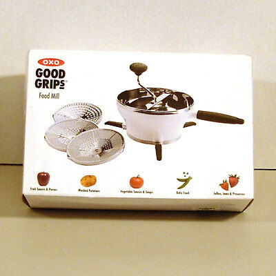 NEW Oxo Good Grips Food Mill Grinder Stainless Steel Dishwasher Safe 3 Discs V18