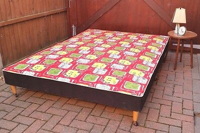 Fab Mid Century TOWER Double Bed on Legs Vintage Retro Fabric - Free Mattress!