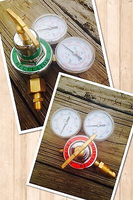 Propane & Oxygen Set Of 2 Torch Regulators For Brazing,cutting & Welding~Brass