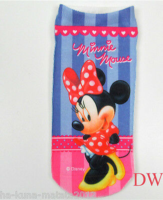 MINNIE MOUSE Trainer Short SOCKS UK Shoe 3-7, 1 pr 3D Digital Photo Sox UKseller