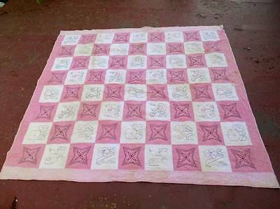 Old Antique QUILT Pink and White w EMBRODIERED Squares Flowers, tec.