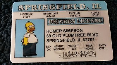 Homer Simpson - Drivers License - Novelty ID Card