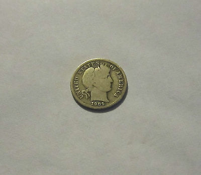 1909-D Barber Dime Very Good + Condition, Low Mint Coin.