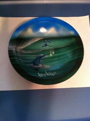 Key West dolphins painted on wooden bowl vintage