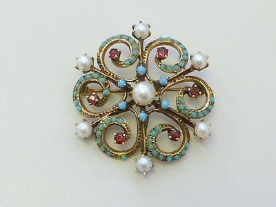 Victorian 14 kt Gold RUBY Pearl TURQUOISE Necklace Pin Starburst Snowflake