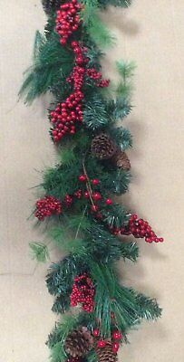 Christmas Pine Mixed Garland + Red Berry Cluster & Cone 180cm Long