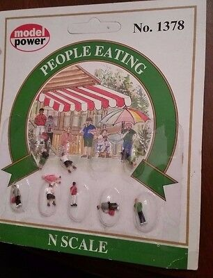N SCALE Model Power People Eating Figures 1378 9 pcs NIP