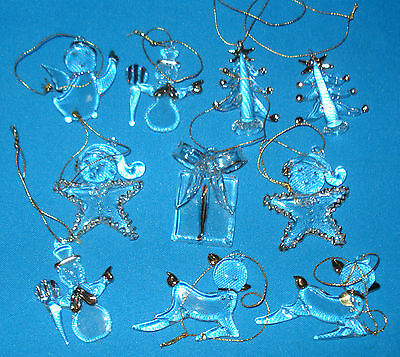 Lot of 10 Glass Christmas Ornaments