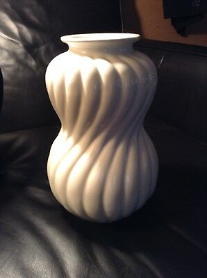"""Beautiful Sommerhuber? Vase White 12"""" High 6.5"""" Made in Austria White Twisted"""