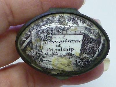 Antique Battersea Enamel Patch Box A REMEMBERANCE OF FRENDSHIP