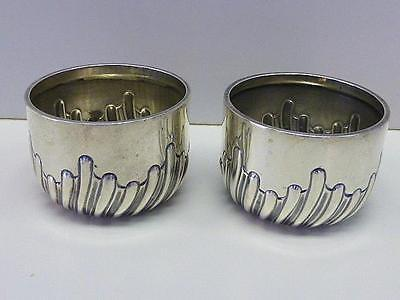 2 Victorian 1890 George Unite Sterling Silver Salt Cellar PAIR