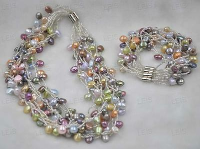 wholesale 5 sets 7-8*9-10mm Baroque Freshwater pearl necklace bracelet sets