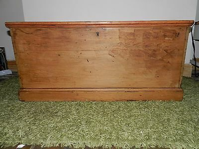 Victorian Antique Pine Blanket Box Wooden Chest Trunk Coffee Table