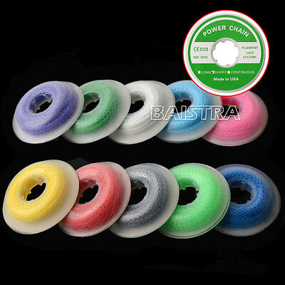 10 Rolls Dental médico Orthodontic Short Type Elastic Ultra Power Chain Colorful