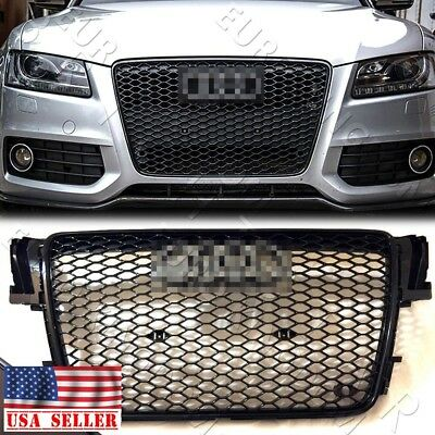 For 07-12 AUDI A5/S5 B8 RS5 STYLE EURO HONEYCOMB HEX MESH GRILLE - GLOSS BLACK