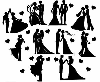 Die Cut Outs Silhouette Wedding Couples shapes x 11 Romance Valentine engagement