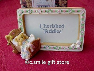 Cherished Teddies *BABY IN CRADLE PHOTO FRAME* #675792 Enesco MIB Ret