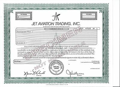 Jet Aviation Trading specimen stock certificate 1997 Airplane Aircraft Aviation