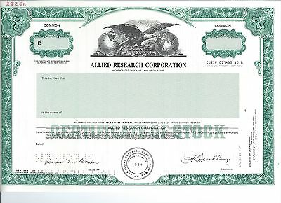 Allied Research specimen stock certificate 1961 Ammunition & Weapons