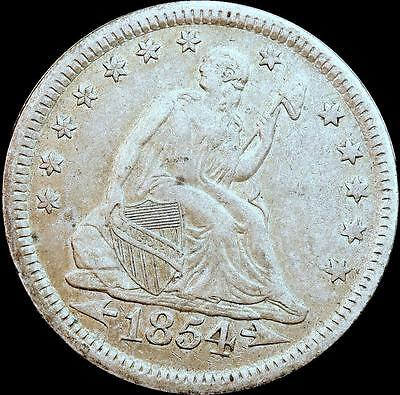 1854 25c Seated Liberty Silver Quarter (Arrows)