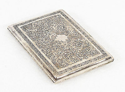 Antique Persian Engraved Solid Silver Cigarette Case