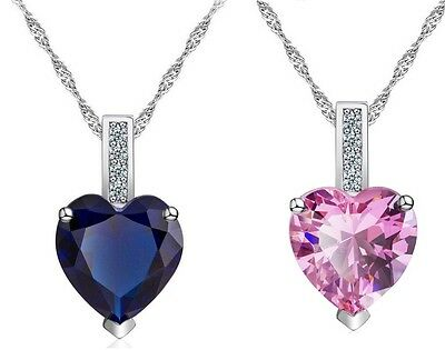 "18"" Sterling Silver Heart Cut Blue Sapphire Pink Pendant Necklace Gift Box A9"