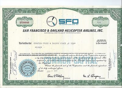 San Francisco & Oakland Helicopter Airlines stock certificate with Schedule 1966