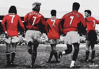 Manchester United 'Number 7s' Wall Canvas A3