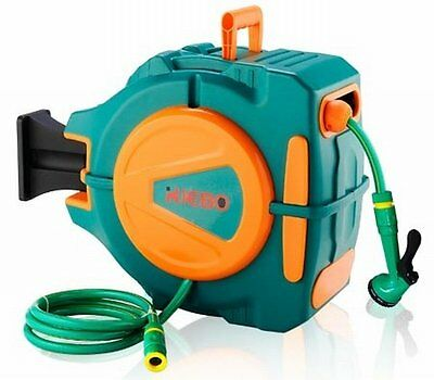 NEW Wall Mountable Multi-Fitting Retractable Garden Hose Reel - 20 Meter Hose